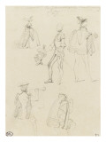 Sketch Sheet Male Costume of the Sixteenth Century Giclee Print by Paul Delaroche