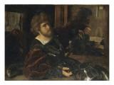 Autoportrait, dit autrefois portrait de Gaston de Foix Giclée-tryk af Giovanni Girolamo Savoldo