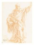Saint Paul tenant une épée et élevant la main gauche au ciel Giclée-tryk af Alessandro Algardi