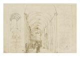 Sheet of Studies with Perspective View of a Church Giclee Print by Peter Vischer