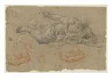 Studies of a Man Crawling: Envy; Arm Holding a Sword Giclee Print by Pierre Mignard