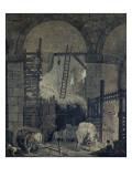 Ecuries et granges dans des ruines antiques Reproduction procédé giclée par Hubert Robert