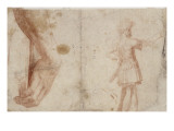 Studies of a Hand on a Book and a Warrior Standing Giclée-Druck von Daniele Da Volterra