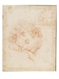 Tête d'enfant dormant et détail de chevelure bouclée Giclée-tryk af Carlo Dolci
