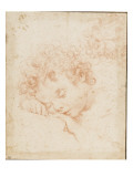 Tête d'enfant dormant et détail de chevelure bouclée Lámina giclée por Carlo Dolci