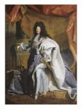 Portrait en pied de Louis XIV âgé de 63 ans en grand costume royal (1638-1715) Giclee Print by Hyacinthe Rigaud