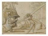 Scene from the Italian Comedy: Harlequin and Goliath Giclee Print by Claude Gillot