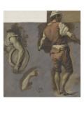 Homme debout, vu de dos et deux études de bras Giclée-Druck von Nicolas Vleughels