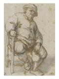 Homme assis Giclée-Druck von Adrien Van Ostade