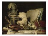 Les Attributs de la peinture, de la sculpture et de l'architecture Giclée-Druck von Anne Vallayer-coster