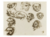 Sheet of Studies with Self-Portraits from Photographs Giclee Print by Eugene Delacroix