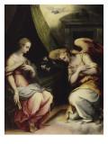 L'Annonciation (partie centrale d'un triptyque) Giclée-Druck von Giorgio Vasari