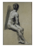 Study of Man Seated in Profile to Right, Turning Back Giclee Print by Pierre Paul Prud'hon