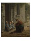 La Becqu ou Paysanne donnant anger es enfants Reproduction procédé giclée par Jean-François Millet