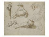 Etudes de diverses figures dont trois jeunes gens allongés Lámina giclée por Abraham Bloemaert