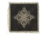 Starched Doily Blade Silver Embroidered Damask Black Giclee Print
