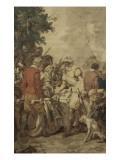 Tenture de l'Histoire d'Henri IV. Henri IV rencontrant Sully blessé Giclée-Druck von Francois Andre Vincent