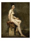 Nu assis. Mademoiselle Rose modèle de l'atelier de Guérin Giclee Print by Eugene Delacroix