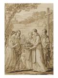 Saint Louis et Marguerite de Provence visitant Saint Thibaud  à l'abbaye de Vaux de Cernay Giclée-Druck von Joseph Marie Vien