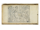 Carnet de croquis; dposition du Christ Lmina gicle por Jean-Baptiste Carpeaux