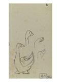 Croquis d'oie et trois études de la tête d'oie Giclée-tryk af Paul Gauguin