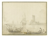 Sc&#232;ne de p&#234;che au trident Gicl&#233;e-Druck von Pierre Jacques Volaire