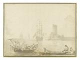 Scène de pêche au trident Giclée-Druck von Pierre Jacques Volaire