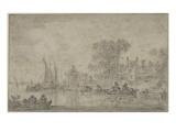 Meerespanorama (Doppeldruck) Giclée-Druck von Jan Van Goyen