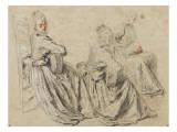 Etudes de femme jouant de la guitare ou tenant une partititon Giclée-tryk af Jean Antoine Watteau