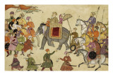 Shah Jahan Mounted on an Elephant with His Retinue Reproduction proc&#233;d&#233; gicl&#233;e