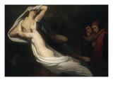 Les Ombres de Francesca da Rimini et de Paolo Malatesta apparaissent à Dante et à Virgile Giclee Print by Ary Scheffer