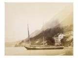 Saint-Gingolph, un navire ancré au bord du lac Gicléetryck av Alexandre-Gustave Eiffel