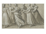 Six Women Walking Towards the Left, Two Holding a Fan Giclee Print by Nicolo dell&#39; Abate
