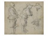 Etudes de deux hommes debout et de deux têtes masculines Lámina giclée por Abraham Bloemaert