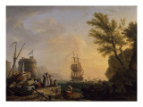 Port de mer au soleil couchant Reproduction procédé giclée par Claude-Joseph Vernet
