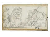 Sketchbook; Antique Scene : a Man Playing the Lyre Giclee Print by Jean-Baptiste Carpeaux