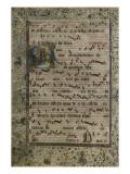 Feuillet d'un Antiphonaire : initiale D avec figuration de la Pentecôte - Giclee Baskı