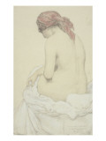 Etude de femme nue et assise Gicleetryck av Armand Rassenfosse