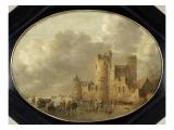 Patineurs devant un château médiéval Giclée-Druck von Jan Van Goyen