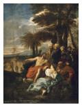 Saint Jean-Baptiste prêchant dans le désert Lámina giclée por Pier Francesco Mola