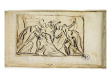 Carnet de croquis; tude de scne Lmina gicle por Jean-Baptiste Carpeaux