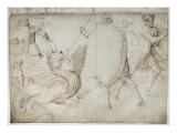 Croquis illisible ; Guerrier combattant un dragon Giclee Print by Jacopo Bellini