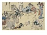 Scènes de rue nouvellement publiées Giclée-Druck von Katsushika Hokusai