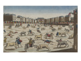 Spanish for Racing in the Great Plaza Mayor in Madrid Giclee Print