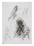 Sheet of Studies for Hercules and the Hydra of Lerna Giclee Print by Gustave Moreau