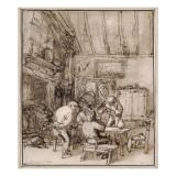 Tablée de paysans dans un cabaret Giclée-Druck von Adrien Van Ostade