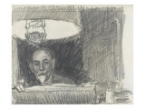 Steinlen dessinant sous une lampe Giclee Print by Théophile Alexandre Steinlen