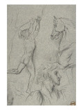 Sheet of Studies: Man Running, Horse Head, Head Man Giclee Print by Gustave Moreau