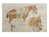 Etude de mule harnachée; 1832 Giclee Print by Eugene Delacroix