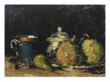 Nature morte : sucrier, poires et tasse bleue Giclee Print by Paul Cézanne